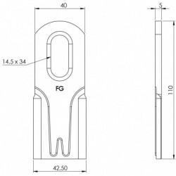 Couteau renforcé 102 plat - 110.40.5 plan