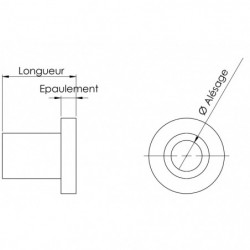 Entretoise épaulée - 39 x 24 épaul. 8mm - Ø ext. 40mm plan