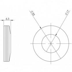 Rondelle élastique 33 x 16,5 ép 3 mm plan