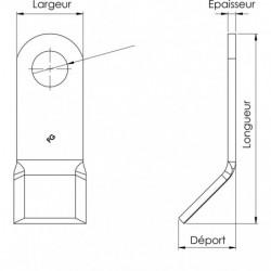 Couteau de broyage - NOB 16 Ø 20,5 plan