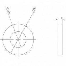 Rondelle de calage 32 x 16,5 ép 5mm plan